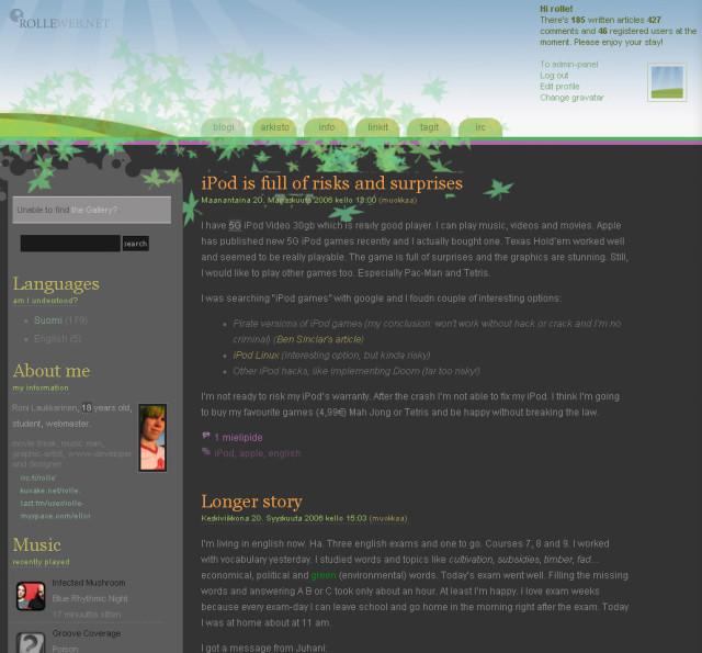 """2006-2009 - Koodinimi """"FALLing"""". Tästä on vain englanninkielinen screenshot tallessa. Yläosa vaihtui vuodenajan mukaan hauskasti tässä leiskassa."""