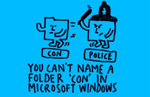 Et voi nimetä tiedostoa coniksi Windowsissa.