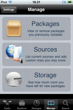 Kuvankaappaus iPod Touchin Cydia-ohjelmasta
