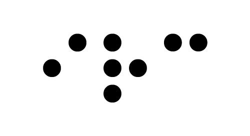 Pistekirjoituksella kirjoitettu teksti: IRC, joka on kuurosokeat-irc-kanavan logo