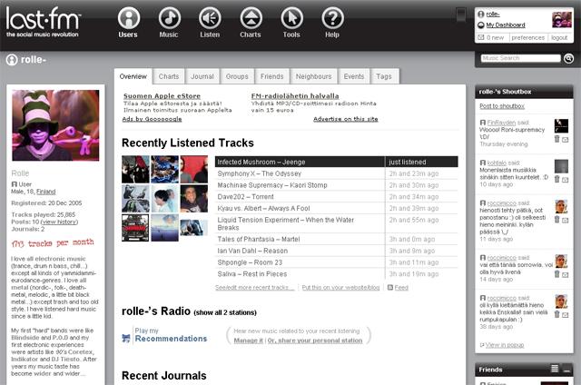 Tältä Last.fm-profiilini näytti maaliskuussa 2007.