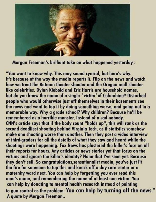 Morgan Freeman Sandy Hookin tapauksesta