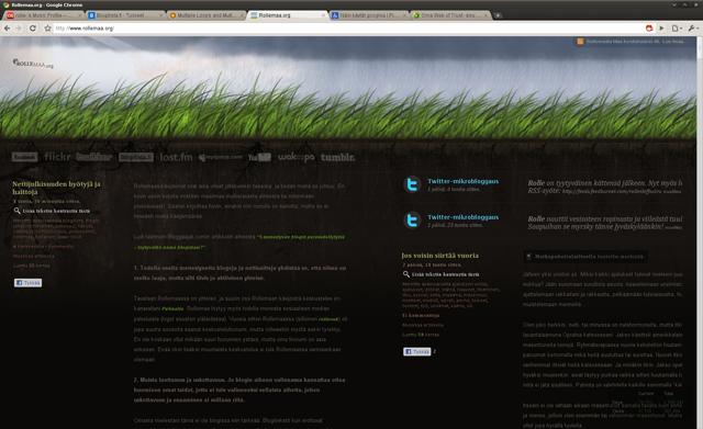 Kuvankaappaus selaimesta jossa Rollemaan uusin ulkoasu tuplakolumn-kikalla
