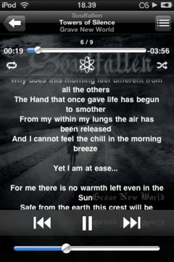 Kuvankaappaus iPod Touchin musiikinkuuntelusta