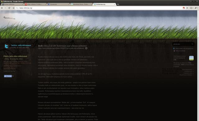 Kuvankaappaus selaimesta jossa Rollemaan uusin ulkoasu