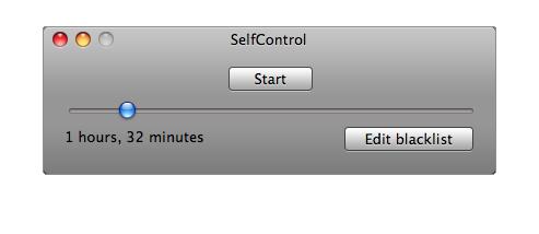 Kuva SelfControl -ohjelman ikkunasta