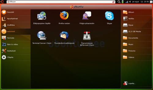 Kuva Ubuntu Eee:n työpöydästä.